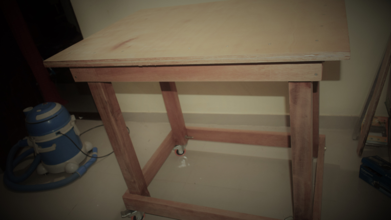 Movable Wooden Workbench